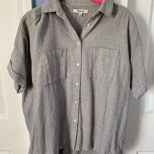 Madewell Courier Gray Short Sleeve Button Down